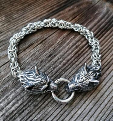Armkette Viking mit Fenris Wölfen