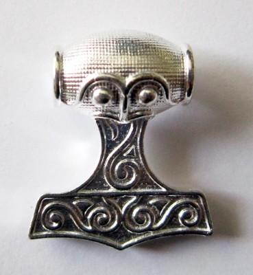 Ciondolo martello di Thor grande, argento placcato