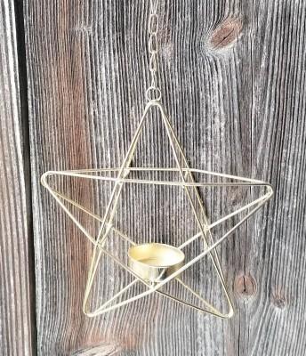Teelichthalter Pentagramm hängend goldfarben