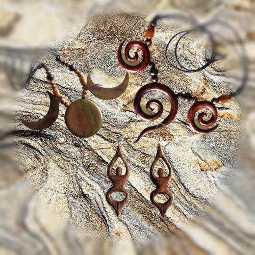Natural jewels with magic symbols