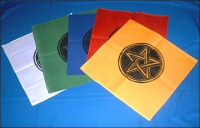 Altar Cloths with Black Pentagram Green
