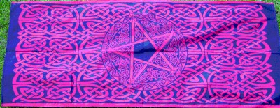 Cloth with Celtic Pattern and Pentagram Red