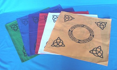 Altar Cloths with Black Triquetta and celtic Patterns Blue