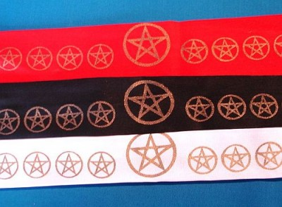 Headband with golden Pentagram Black
