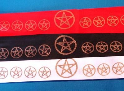 Stirnband mit goldenem Pentagramm Schwarz