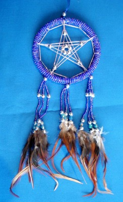 Dream Catcher with Pentagram and glass pearls, blue