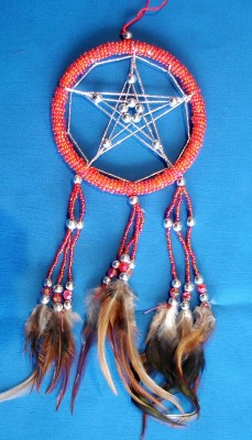 Dream Catcher with Pentagram and glass pearls, red