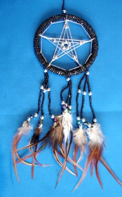 Dream Catcher with Pentagram and glass pearls, black