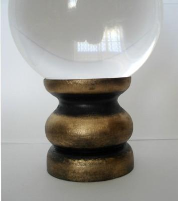 Glaskugelhalter schwarz/gold aus Holz, groß