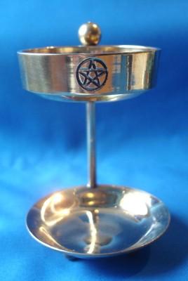 Encensoir avec une grille, laiton, petit avec Pentagram