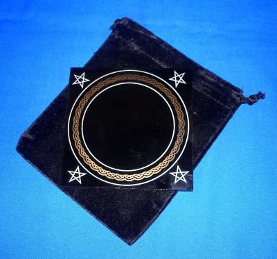 Miroir noir, petit 10 x 10 cm avec sac
