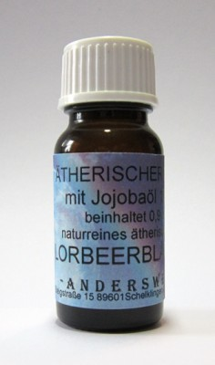 Ethereal fragrance (Ätherischer Duft) jojoba oil with laurel leaves
