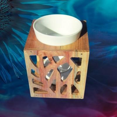 Duftlampe mit Holzgestell