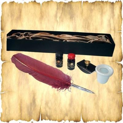 Schreibfeder Set mit Truthahnfeder, 2 x Tinte, Tintenfass und Löschwiege