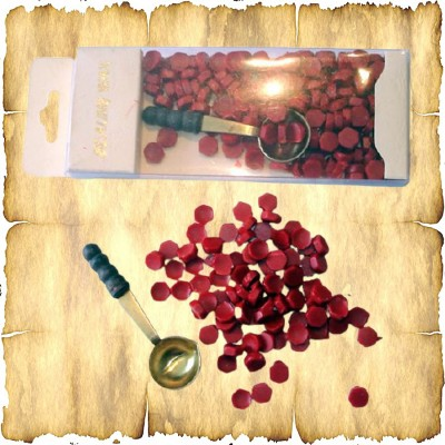 Cera rossa in Perle, con il cucchiaio di fusione