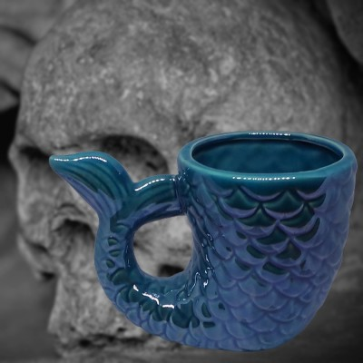 Keramik-Ritualgefäß Fisch blau Yemaya