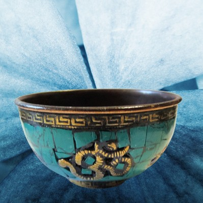 Incense burner Copper bowl with colorful stones and OM sign