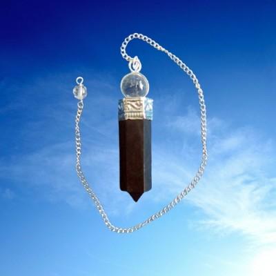 Pendolo con tormalina nera e di cristallo di rocca.