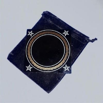 Piccolo specchio nero 10 x 10 cm con borsa portaspecchio