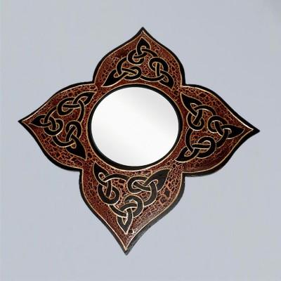 Spiegel Blumenkontur mit Celtik-Knoten braun