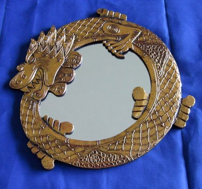 Miroir dragon or