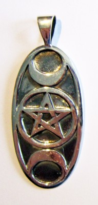 Silver Pendant Triple Moon with pentagram