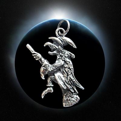 Silber-Anhänger fliegende Hexe
