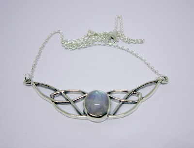 Silver Necklace Celtic Knot with Rainbow Moonstone