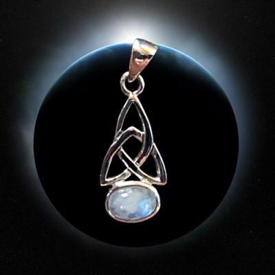 Silber-Anhänger Triquetta mit Regenbogen Mondstein
