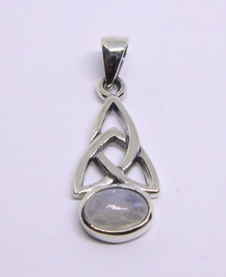 Silver pendant Triquetta with Rainbow moonstone