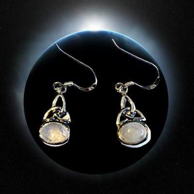 Silber-Ohrhänger Triquetta mit Regenbogen Mondstein 1 paar