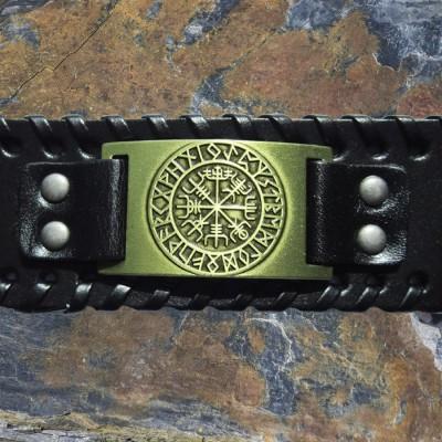 Wikinger Lederarmband Aegishjalmur Symbol für Schutz