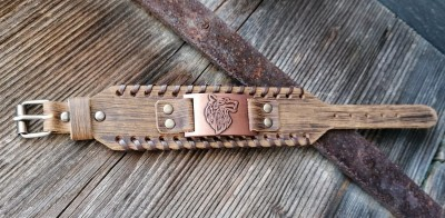 Leather bracelet Fenriswolf