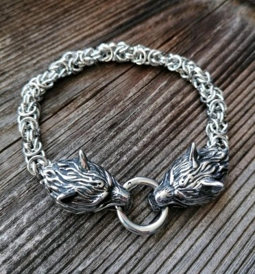 Viking bracelet with Fenris wolves