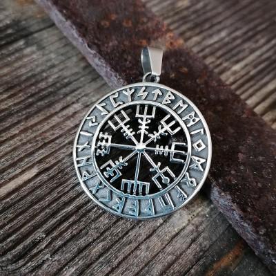 Stainless steel pendant Viking compass, broken through, with rune circle