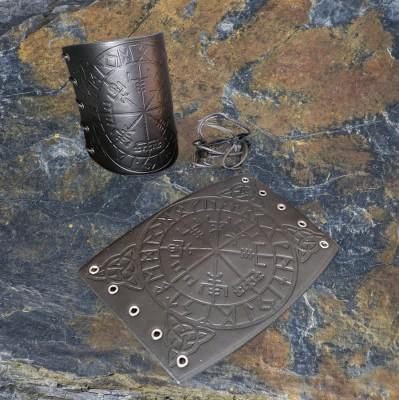Ensemble de brassards en cuir avec boussoles vikings