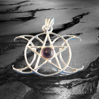 Anhänger Pentagramm Dreifacher Mond mit Stein