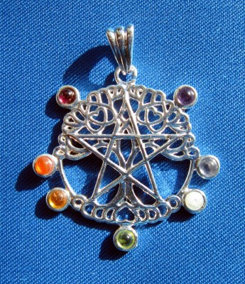 Pendant Pentagram Tree of Life with Chakra stones
