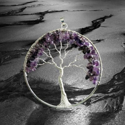 Pendant lucky tree silver plated with amethyst