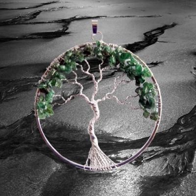 Ciondoli albero fortunato argento placcato con aventurine