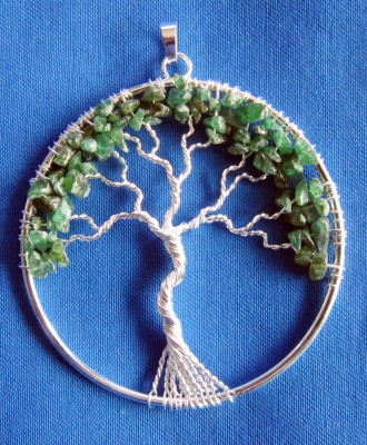 Pendentif arbre de bonheur argent plaqué avec aventurine