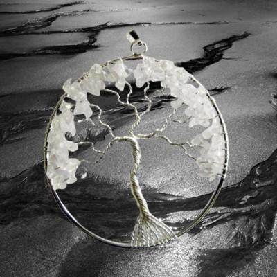 Pendentif arbre de bonheur argent plaqué avec cristal de roche