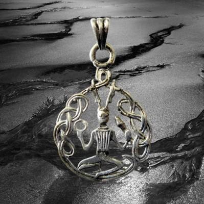 Pendentif Cernunnos avec noeuds, en argent plaqué