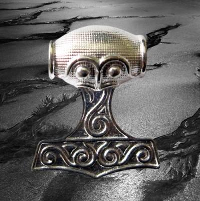 Pendentif marteau de Thor grand, en argent plaqué