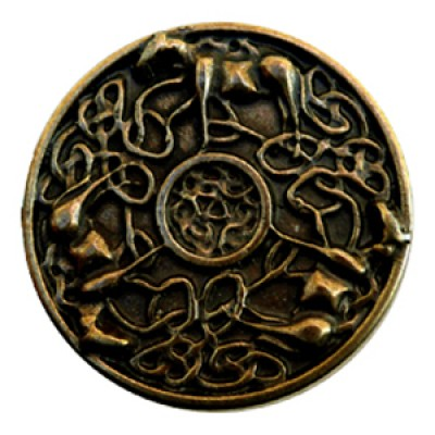 Decorative rivet in antique brass-look Celtic Horses