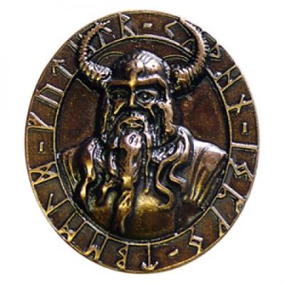 Fermaglio in ottone anticato con Amuleto di Odino