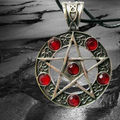 Pendant pentagram with blood-red stones