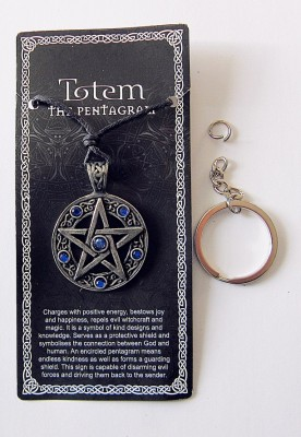 Pendentif en étain Pentagramme avec pierres bleues