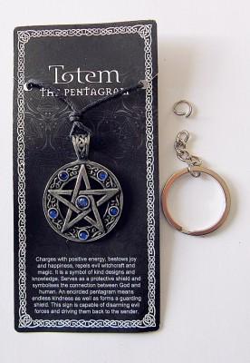 Ciondolo in peltro Pentagram con pietre blu