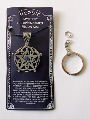 Pendentif en étain Brisingamen Pentagram avec pierre bleue